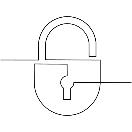 Lock, drawn by one indissoluble line on a white background. Vector Illustration