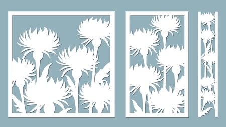 Stokesia. Vector illustration. Set of paper flower, stickers. Laser cut. Template for laser cutting and Plotter. Vector illustration. Pattern for the laser cut, serigraphy, plotter and screen printing Çizim