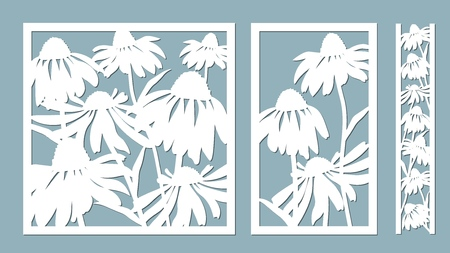 Echinacea. Vector illustration. Paper flower, stickers. Laser cut. Template for laser cutting and Plotter. Vector illustration. Pattern for the laser cut, serigraphy, plotter and screen printing Çizim