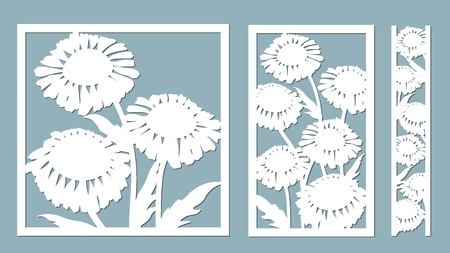 chamomile. Vector illustration. Of paper flower, stickers. Laser cut. Template for laser cutting and Plotter. Vector illustration. Pattern for the laser cut, serigraphy, plotter and screen printing Çizim