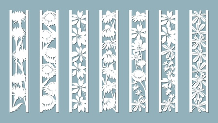 Echinacea, chamomile, schefler, noble hepatica, zephyrantes, stokesia. Panels with floral pattern. Flowers and leaves. Laser cut. Set of bookmarks templates. Image for laser cutting, plotter cutting or printing. Plotter and screen printing 向量圖像