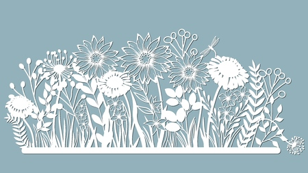 Echinacea, chamomile, schefler, noble hepatica, zephyrantes, stokesia. Vector illustration. Set of paper flower, stickers. Laser cut. Set template for laser cutting and Plotter. Vector illustration. Set. Pattern for the laser cut, serigraphy, plotter and screen printing