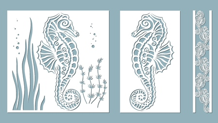 seahorse, algae, Kelp, (Brown alga, Posidonia). Vector illustration. Laser cut. Set template for laser cutting and Plotter. Vector illustration. Sticker set. Pattern for the laser cut, serigraphy, plotter and screen printing