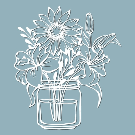 chrysanthemum and Lily in a jar of water. Vector illustration. Paper flower, stickers. Laser cut. Template for Plotter. Pattern for the laser cut, serigraphy, plotter and screen printing