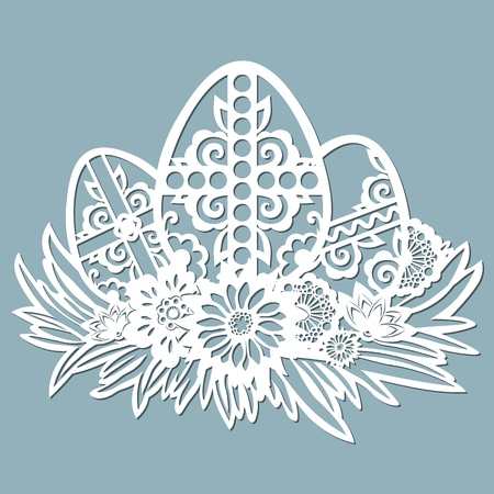 dandelion, grass, bell, cross, leaves, flowers, chamomile carved in egg. Vector illustration. Easter eggs for Easter holidays. Set of paper Easter egg stickers. Laser cut. Set template for laser cutting and Plotter. Vector illustration. Sticker set. Pattern for the laser cut, serigraphy, plotter and screen printing