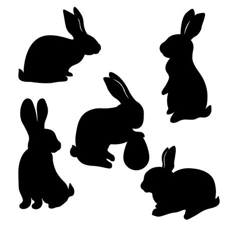 Laser cut Easter bunny rabbit. Set, fancy hare with laser cut for die cutting. Laser cutting rabbit template Ilustração