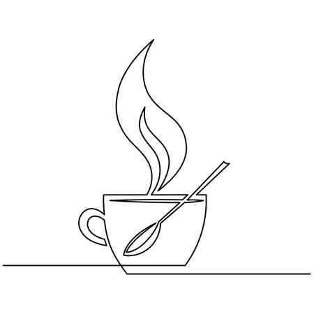 Cup of coffee, spoon, steam over Cup is drawn by one line on a white background. Single line drawing. Continuous line. Vector Illusztráció
