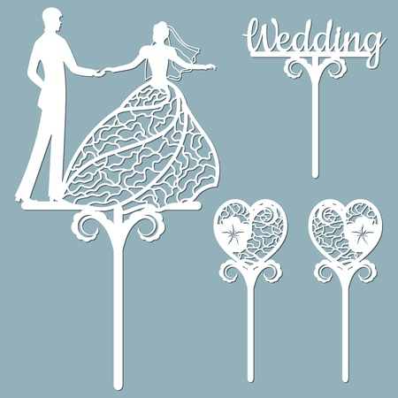 Wedding cake topper for laser or milling cut. Vector graphics. Patterns for cutting. Dance, flowers, dress