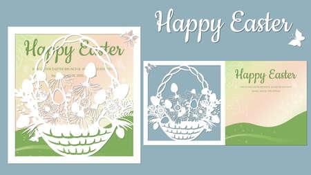 basket, butterfly, dandelion, grass. Paper postcard Easter egg and flowers in basket. Laser cut. postcard template for laser cutting and Plotter. Vector illustration. Pattern for the laser cut, plotter