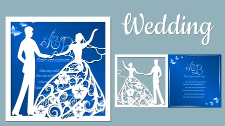 Vector illustration Postcard. Invitation and greeting card with With the groom and the bride. Pattern for the laser cut, boy and girl. The dancing couples. Dress with flowers