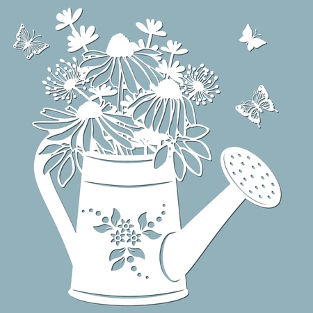 Echinacea, dandelions with Scheffler in a jar of water. watering can. Vector illustration. Paper flower, stickers. Laser cut. Template for Plotter. Pattern for the laser cut, serigraphy, plotter and screen printing