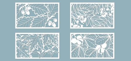 Einstellen. Blätter, Eiche, Ahorn, Rowan, Kastanie, Beeren, Eichel, Samen. Vorlagen in Form von Rechtecken. Abstraktes Rechteck. Vektorillustration eines Laserschneidens Plotterschneiden und Siebdruck Vektorgrafik