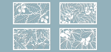 Set. Leaves, Oak, maple, Rowan, chestnut, berries, acorn, seeds. Templates in the form of rectangle. Abstract rectangle. Vector illustration of a laser cutting Plotter cutting and screen printing Illusztráció