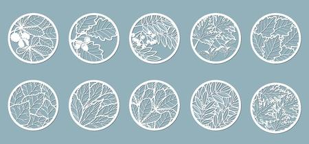 Impostato. Foglie, quercia, acero, sorbo, castagno, bacche, ghianda, semi, betulla, frassino. Modelli sotto forma di cerchi. Cerchi astratti, palline Illustrazione vettoriale di un taglio laser Taglio plotter e serigrafia
