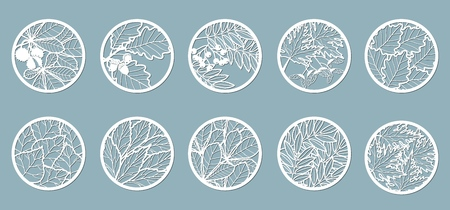 Set. Leaves, Oak, maple, Rowan, chestnut, berries, acorn, seeds, birch, ash. Templates in the form of circles. Abstract circles, balls Vector illustration of a laser cutting Plotter cutting and screen printing
