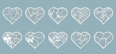 Set, stencil hearts with leaves. Template Leaves, Oak, maple, Rowan, chestnut, berries, acorn, seeds, birch, ash Vector illustration Sticker set Pattern for the laser cut plotter screen printing 向量圖像