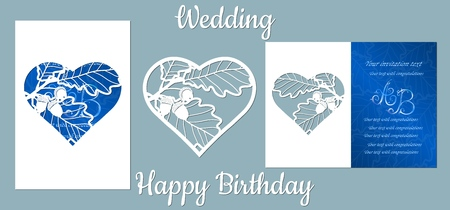 The inscription-happy birthday, wedding. oak, leaves, acorns. Card oak, leaves, acorns in heart, and space for text. Laser cutting template for greeting cards, invitations, decorative elements Vector Ilustracja