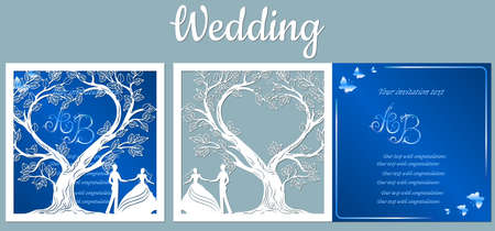 Vector illustration Postcard. Invitation and greeting card with With the groom and the bride under the trees. Pattern for the laser cut, boy and girl