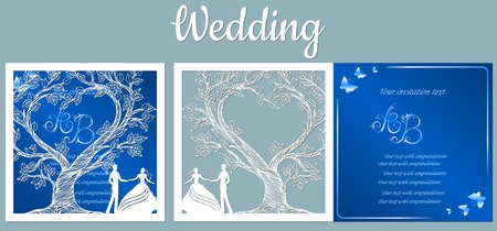 Vector illustration Postcard. Invitation and greeting card with With the groom and the bride under the trees. Pattern for the laser cut, boy and girl Stok Fotoğraf - 133626101