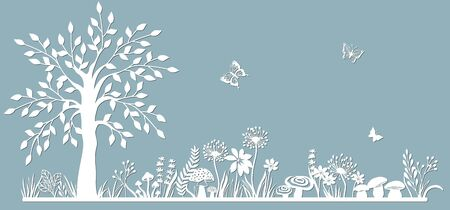 Template glade for to cut with a laser from paper.Line with mushrooms, grass, toadstools and butterflies, wood and flowers. For decoration and design. Laser cut. Template for laser cutting and Plotter. Vector illustration. Pattern for the laser cut, serigraphy, plotter Stok Fotoğraf - 132229154