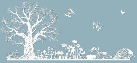 Template glade for to cut with a laser from paper. Line with mushrooms, grass, and butterflies, wood and flowers. For decoration and design. Template for laser cutting and Plotter. Vector illustration. Pattern for the laser cut, serigraphy