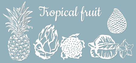 paper pineapple, pitahaya, Carambola, Salak. Tropical fruit isolated. Symbol of food, sweet, exotic, summer, vitamin healthy Nature sign plotter and screen printing Laser cut Illustration