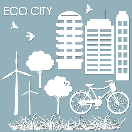 template for making illustrations. vector image for laser cutting and plotter printing. sticker windmill, Bicycle, wood, high-rise buildings. multistory building. scrapbooking.
