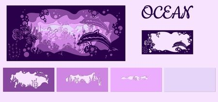 template for making a lamp or postcard. vector image for laser cutting and plotter printing. fauna with marine animals