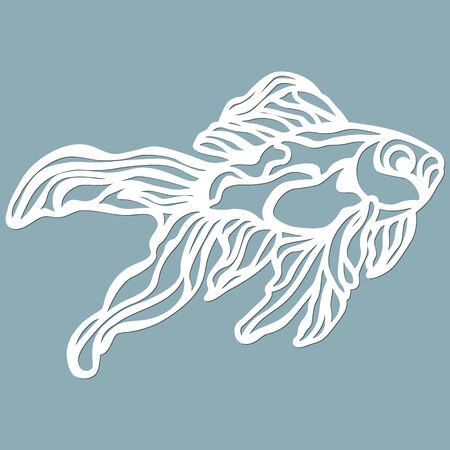fish for laser cutting. Suitable for cutting from paper, wood metal. For the design of postcards, menus and interior details. Vector illustration. Sticker. Pattern for the laser cut, plotter and scree 일러스트