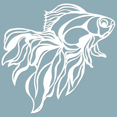 fish for laser cutting. Suitable for cutting from paper, wood metal. For the design of postcards, menus and interior details. Vector illustration. Sticker. Pattern for the laser cut, plotter and screen printing
