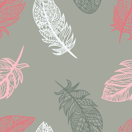 Bright colored feathers on a gray background. Vector for seamless illustration Banque d'images - 128934720