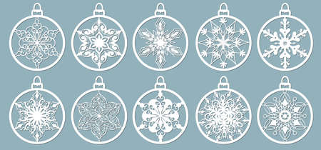 Christmas balls set with a snowflake cut out of paper. Templates for laser cutting, plotter cutting or printing. Festive background Illusztráció
