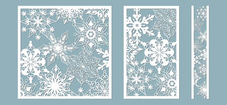 Ornamental panels with snowflake pattern. Laser cut decorative lace borders patterns. Set of bookmarks templates. Image suitable for laser cutting, plotter cutting or printing. serigraphy Stok Fotoğraf - 132228958