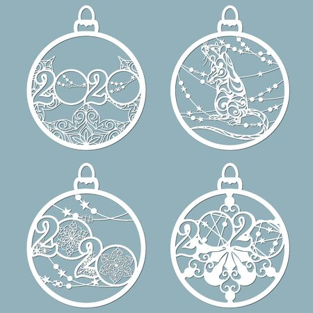 Christmas balls with symbols inside. Set of Christmas toys. Laser and plotter cutting. Paper crafts for the New Year