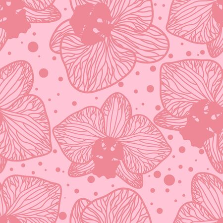 Seamless background. Orchid flowers on pink background. Vector image in contours. Silhouette colors