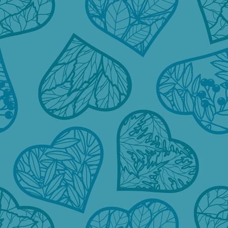 Seamless background. Leaves in the heart on a turquoise background. Vector image in contours. Silhouette of hearts with leaves Imagens - 133626116