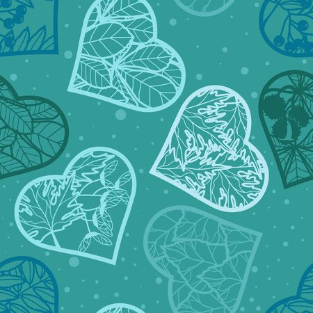Seamless background. Leaves in the heart on a turquoise background. Vector image in contours. Silhouette of hearts with leaves