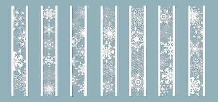 Ornamental panels with snowflake pattern. Laser cut decorative lace borders patterns. Set of bookmarks templates. Image suitable for laser cutting, plotter cutting or printing. serigraphy Banque d'images - 129833361