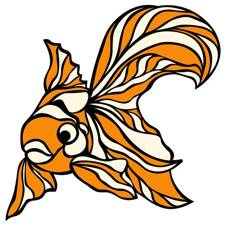 Cute goldfish icon. Cartoon of cute goldfish vector icon for web design isolated on white background.. Banque d'images - 132226478
