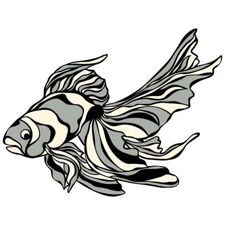 Cute goldfish icon. Cartoon of cute goldfish vector icon for web design isolated on white background.. Çizim