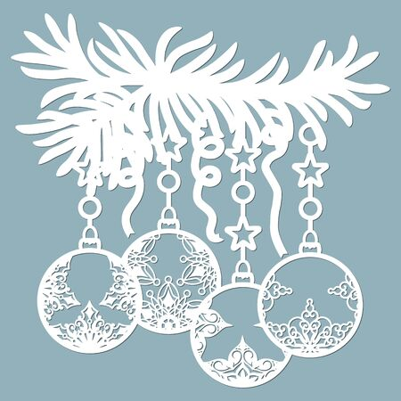 Christmas balls set with a snowflake Hanging on the tree cut out of paper. Templates for laser cutting, plotter cutting or printing. Festive background.. Banque d'images - 132229176