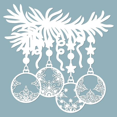 Christmas balls set with a snowflake Hanging on the tree cut out of paper. Templates for laser cutting, plotter cutting or printing. Festive background.. Stok Fotoğraf - 132228804