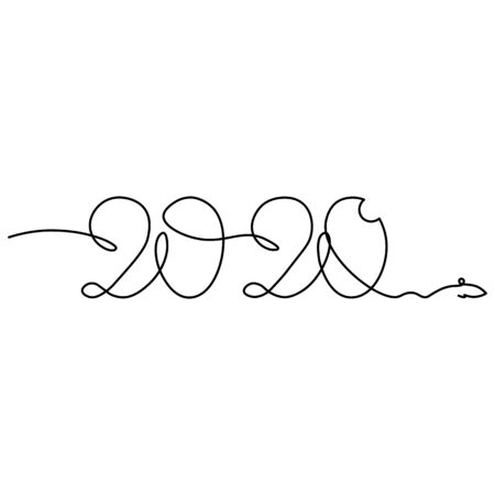 One continuous line drawing 2020. Vector new year illustration isolated on white background.. 일러스트