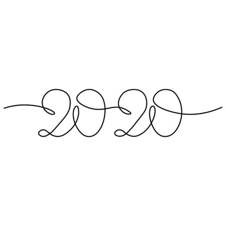 One continuous line drawing 2020. Vector new year illustration isolated on white background.. Çizim