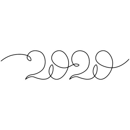 One continuous line drawing 2020. Vector new year illustration isolated on white background.. Banque d'images - 132225699