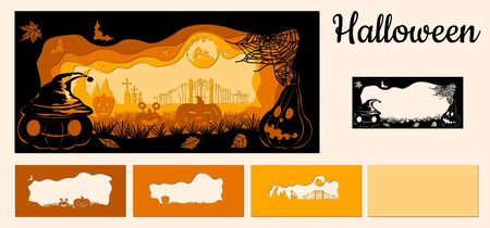 Template Halloween, pumpkin, spider web, bat, graves for to cut with a laser from paper. For decoration and design. Template for laser cutting and Plotter. Vector illustration. Pattern for the laser cut.. Illustration