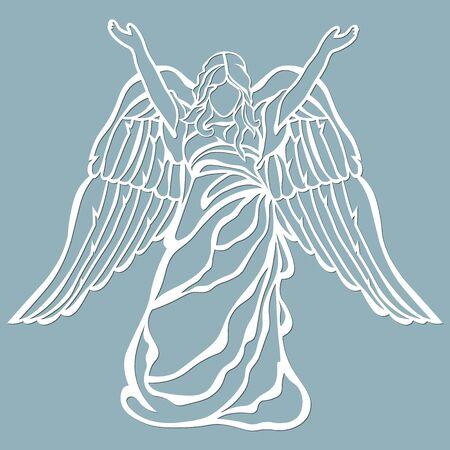 El icono, un patrón de ángel, levantó las manos. Plantilla para corte láser y plotter.