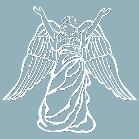 The icon, an angel pattern, held up his hands. Template for laser cutting and plotter.. Banque d'images - 132228622