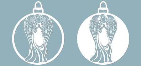 Icon in the form of Christmas toys, angel template,. Template for laser cutting and plotter..