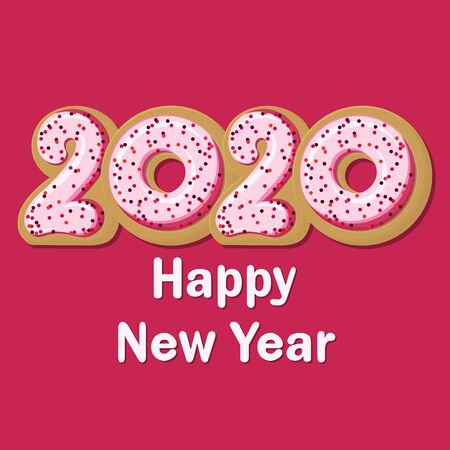 Vector tasty Greeting Card Happy New Donut 2020!..